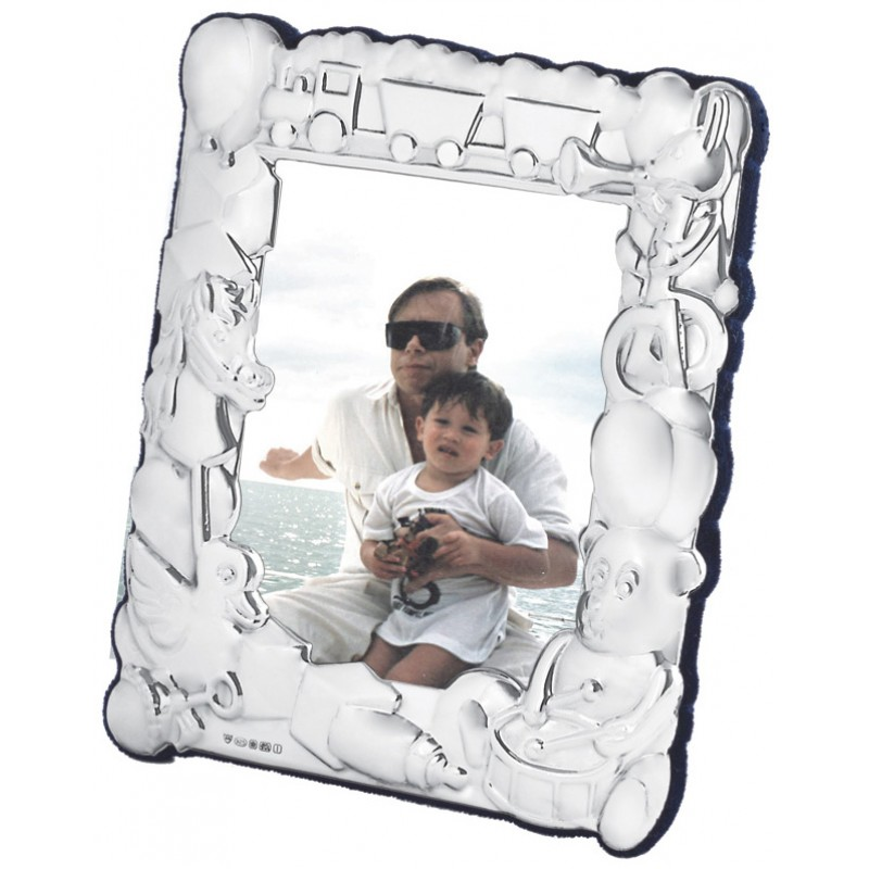 Fr562 Baby Photo Frame With Train And Toy Design 8cm X 10cm Sterling