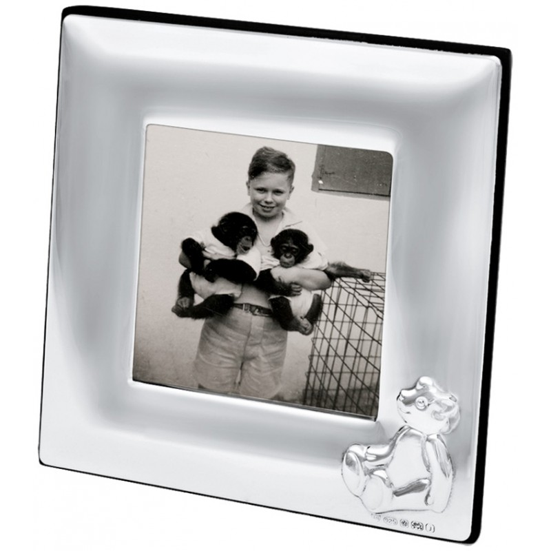 Fr692 Baby Photo Frame With Embossed Teddy 5cm X 5cm Sterling Silver