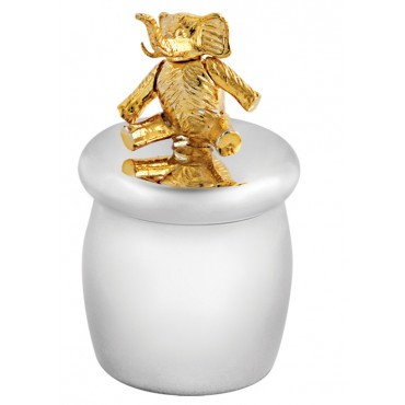 GT2241   Tooth Fairy Box with Gold Plated Moving Elephant Sterling Silver Ari D Norman