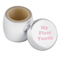 GT2261   Tooth Fairy Box with Engraved 'My First Tooth' in Pink Enamel Sterling Silver Ari D Norman