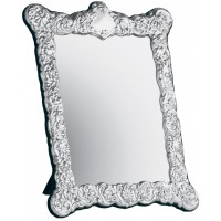 MIR408   Embossed Victorian Table Mirror with Velvet Back Sterling Silver Ari D Norman