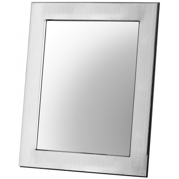 MIR410 - Art Deco Pattern Silver Table Mirror with Wooden Back