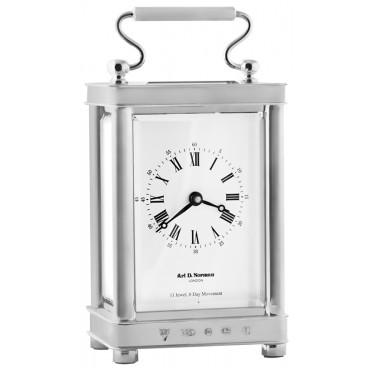CLK100   Carriage Clock  Sterling Silver Ari D Norman
