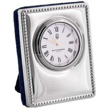 CLK401   Miniature Desk Clock Sterling Silver Ari D Norman