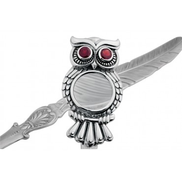 LO410   Magnifying Glass Owl Letter Opener with Garnet Set Eyes Sterling Silver Ari D Norman
