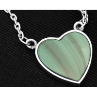 PT801 Malachite Vintage Sterling Silver Heart Shaped Necklet