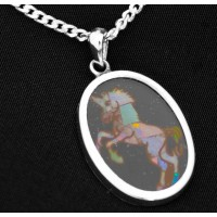 PT804 Vintage Pietra Dura Unicorn Mosaic Opal Pendant on 18 Inch Sterling Silver Chain Opal Inlay on Black Onyx
