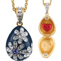 ANC11   Gold Plated Blue Egg and Red Heart Pendant on Chain Jewelari of London