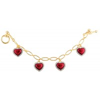 ANC13 - Gold and red enamel heart bracelet
