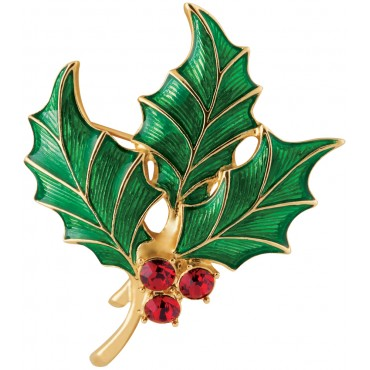 JB106   Gold Plated Holly Brooch with Austrian Crystals Jewelari of London