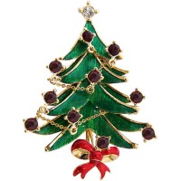 JB15   Gold Plated Classic Christmas Tree Brooch Jewelari of London