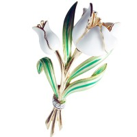 JB181 - White Tulip Brooch