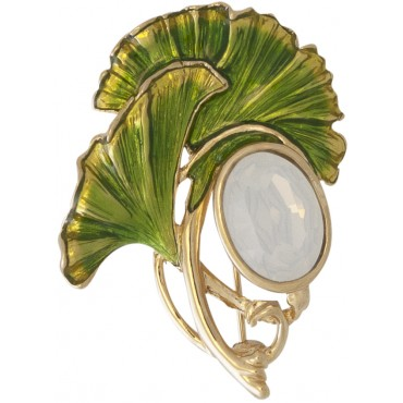 JB222 - Gold plated gingko leaf brooch with opal