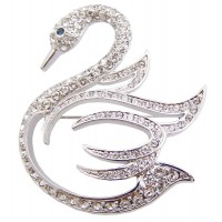 JB7 Rhodium plated swan brooch pin with blue and clear Austrian cyrstals