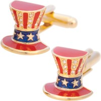 JCU21   Gold Plated Uncle Sam's Hat Cufflinks Jewelari of London