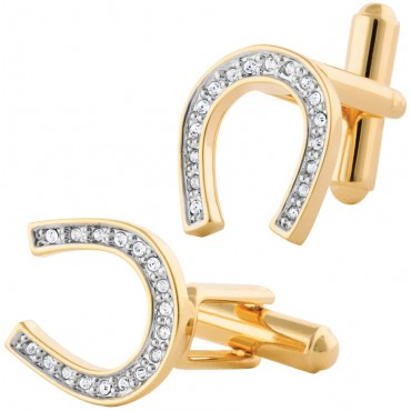 JCU24   Lucky Horseshoe Gold Plate Cufflinks Jewelari of London