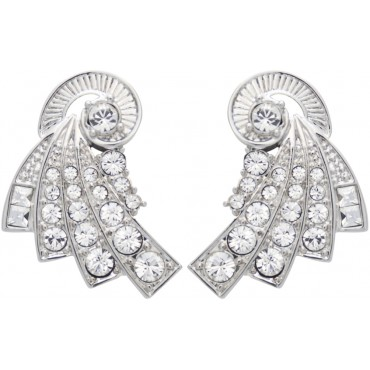 JEA21   Rhodium Plated Fan Style Earrings Jewelari of London
