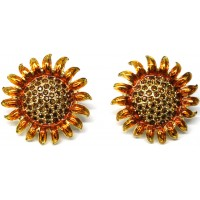 JEA27   Gold Plated Sunflower Earrings Jewelari of London