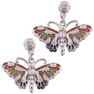 JEA28   Rhodium Plated Butterfly Earrings Jewelari of London