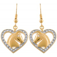 JEA36   Gold Heart and Horse Crystal Earrings Jewelari of London