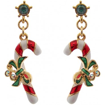 JEA4   Gold Plated Christmas Candy Canes Earrings Jewelari of London