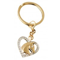 JK4   Gold Plated Horse Head in Heart Keyring Jewelari of London