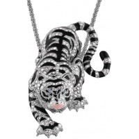 JNK3   Rhodium Plated Siberian Tiger Pendant / Brooch with Swarovski Crystals Jewelari of London