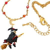 JNK32   Gold Plated Witch Necklace Jewelari of London