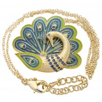 JNK44   Gold Plated Peacock Necklace Jewelari of London