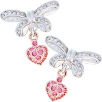 VC5   Rhodium and Rose Gold Plated Jewelled Bow and Heart Earrings Jewelari of London