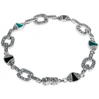 BT206   Marcasite, Onyx and Green Agate Art Deco Bracelet Sterling Silver Ari D Norman
