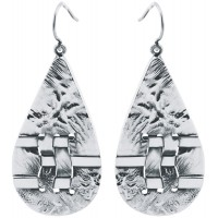 EA597   Woven Hatch Design Teardrop Earrings Sterling Silver Ari D Norman