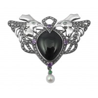 B346    Onyx Art Nouveau Cockerel Brooch Sterling Silver Ari D Norman