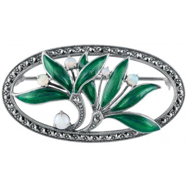 B372   Art Nouveau Leaves and Berries Brooch Sterling Silver Ari D Norman
