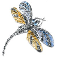 B222   Blue and Yellow Dragonfly Brooch Sterling Silver Ari D Norman