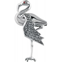 B332   Marcasite Flamingo Brooch Sterling Silver Ari D Norman