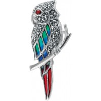 B366   Marcasite Parrot Brooch Sterling Silver Ari D Norman
