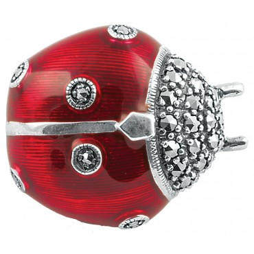 B382   Red Enamel and Marcasite Ladybird Brooch Sterling Silver Ari D Norman