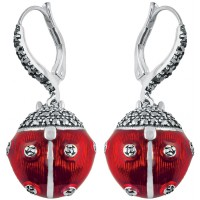 EA300   Red Enamel and Marcasite Ladybird Earrings Sterling Silver Ari D Norman