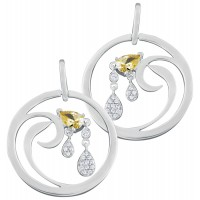 EA611   Cubic Zirconia Set Drop Earrings Sterling Silver Ari D Norman