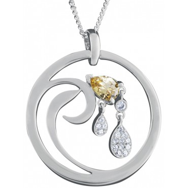 NK575   Citrine and Cubic Zirconia Set Pendant and Chain Sterling Silver Ari D Norman