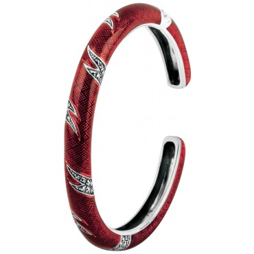 BE410   Red Enamel and Marcasite Bangle Sterling Silver Ari D Norman