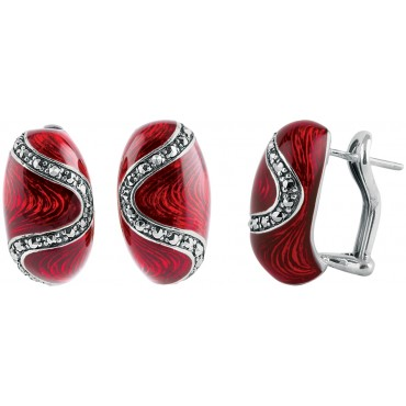 EA506   Red Enamel and Marcasite Bullet Earrings Sterling Silver Ari D Norman