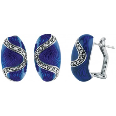 EA507   Blue Enamel and Marcasite Bullet Earrings Sterling Silver Ari D Norman