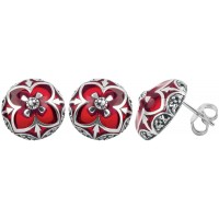 EA513   Red Enamel and Marcasite Earrings Sterling Silver Ari D Norman