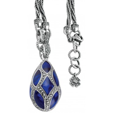 NK505   Blue Enamel and Marcasite Teardrop Pendant on Chain Sterling Silver Ari D Norman