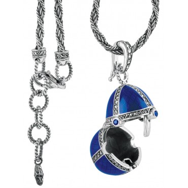 NK509   Blue Enamel and Marcasite Egg Shaped Pendant on Chain Sterling Silver Ari D Norman