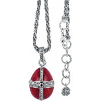 NK510   Red Enamel and Marcasite Egg Shaped Pendant on Chain Sterling Silver Ari D Norman