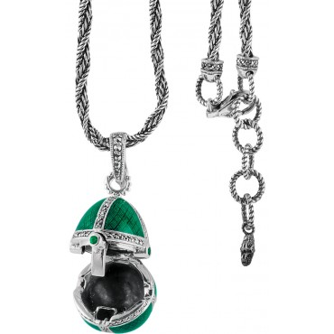 NK511   Green Enamel and Marcasite Egg Shaped Pendant on Chain Sterling Silver Ari D Norman