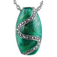 NK512   Green Enamel and Marcasite Pendant on Chain Sterling Silver Ari D Norman